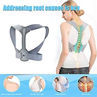 Back Brace Posture Corrector Adjustable - Improves Posture and Provides Lumbar Support - Perfect for Womens, Mens & Teens, Invisible Thoracic Back Brace for Hunching (M 32-36inch)