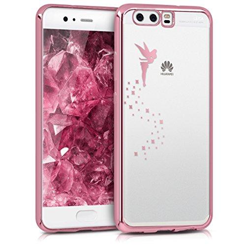 kwmobile Funda Compatible con Huawei P10 - Carcasa de TPU Hada en Oro Rosa/Transparente