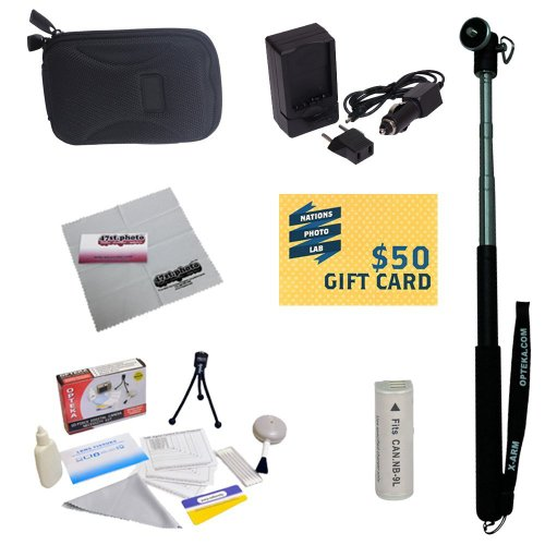 47th Street Photo Best Value Point & Shoot Accessory Starter Kit for Canon PowerShot Elph 530, Elph 520, Powershot N Digital Camera Includes Extended Replacement NB-9L Battery + AC/DC Travel Charger + Self Portrait Monopod + Mini tripod + Slim Hard Case + Screen Protectors Photo Print ! Deluxe Cleaning Kit + 47stPhoto Deluxe Microfiber Cleaning Cloth