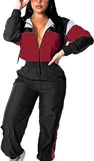 Women Colorblock One Piece Outfits Set High Waist Pants Long Sleeve Zipper Front Windbreaker Jumpsuit