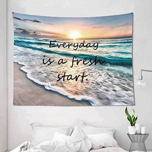 Ocean Positive Tapiz Playa Hawaii Costera Olas del Mar Sunrise Inspirational Life is Good Natural Scene Art Colgante de pared Dormitorio Salón Decoración Regalo