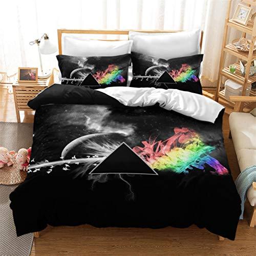 ACJIA Triángulo 3D Juego de Cama con Funda nórdica y Fundas de Colores Pink Floyd Poliéster,135x200cm