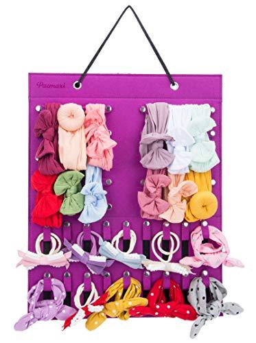 Hanging Baby Girl Headbands Storage Organizer, Newborn Headbands and Bows Holder(10 Snap Band+18 Snaps, Purple)