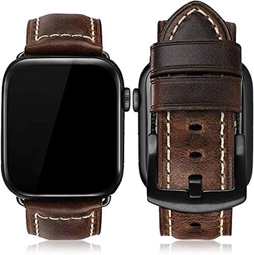 MroTech Compatible con Apple Watch Correa 44mm 42mm Pulseras de Repuesto para iWatch SE/Series 6/Serie 5/4/3/2/1 Replacment Brazalete Cuero Piel Genuino con Hebilla Negra 42/44 mm Vintage Text