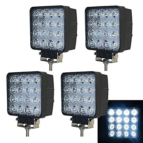 PoJu 4X 48W Projecteur LED Lampe de recul Projecteur de travail étanche IP67 12V 24V étanche [Classe énergétique A ++]