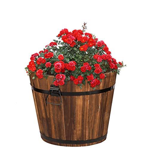 XJJUN Cubos Redondos para Flores, Jardineras De Madera Maciza para Exteriores, Macetas...