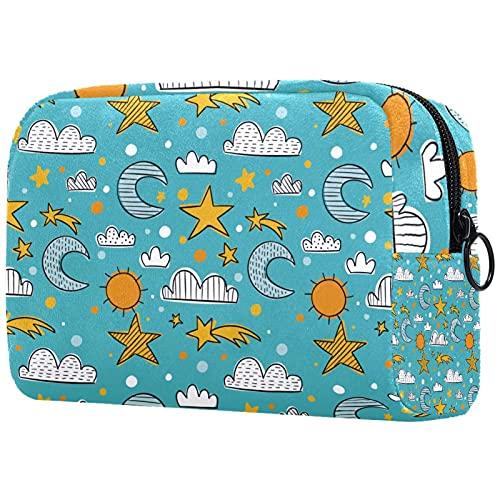 Bolsa de maquillaje para mujer y niñas, con diseño de dibujos animados para el sol y la luna, bolsa de cosméticos espaciosa con cremallera, Multicolor 06, 18.5x7.5x13cm/7.3x3x5.1in, Neceser de viaje