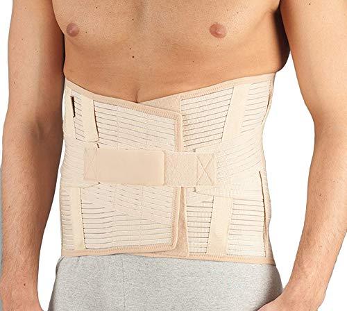 Corsetto lombosacrale / supporto ortopedico in tessuto millerighe, steccato e rinforzato (per Uomo e Donna). Altezza 32 cm. Fasce in velcro per una regolazione ottimale. Tg. XL