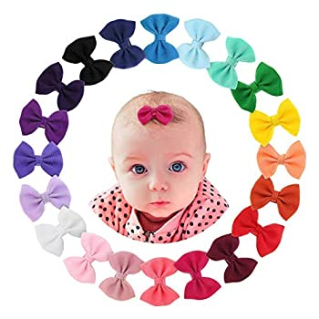 Newborn Baby Snap Hair Clips Tiny Bow Non Slip Barrettes For Infant Fine Hair Mini Bow Girl By PUCH-KO