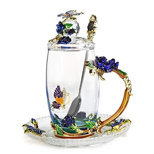 Taza de café con esmalte de mariposa azul hermosa Tazas de vidrio de té de flores Bebidas calientes y frías Juego de cucharas de taza de té Regalo de boda perfecto J