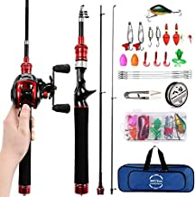 ECOOLBUY Mini Baitcasting Reel and Rod Combos Hard High Carbon Fiber Telescopic Portable Hand Artificial Lures&Fishing Line Fishing Rod&Reel for Children/Beginners (Left Handed, 1.8M/70.8in/5.9ft)