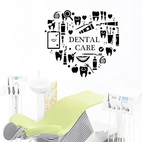 Pegatinas de pared de la oficina dental calcomanías de la etiqueta engomada del dentista pegatinas de pared dentales pegatinas de vinilo extraíbles de la oficina dental 42x38 cm