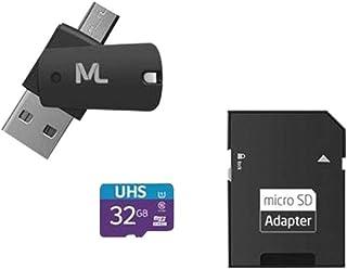 Cartão de Memória 4X1 Ultra High Speed até 80 Mb/S UHSL 32GB + Adaptador SD USB Dual MC151 Classe 10, Multilaser, Cartões ...