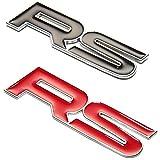 CarOver 【 3D メタル 】 汎用 RS ステッカー レーシング 立体 スポーツ 車 車用 デカール シール かっこいい 文字 ロゴ おしゃれ 英語 バイク CO-RS-RD