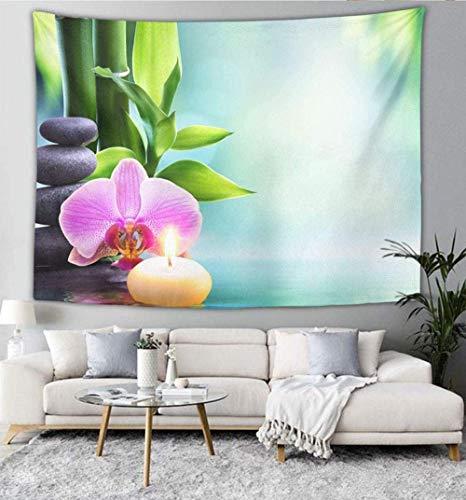 Tapiz Mandala Bohemio Tapiz para Colgar en la Pared Arte Indio Mural Dormitorio Sala de Estar Dormitorio Hogar (Vela Natural Bambú Jardín Zen) 150 cm x 200 cm