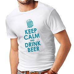 Camisetas Hombre Mantenga la Calma y beba Cerveza