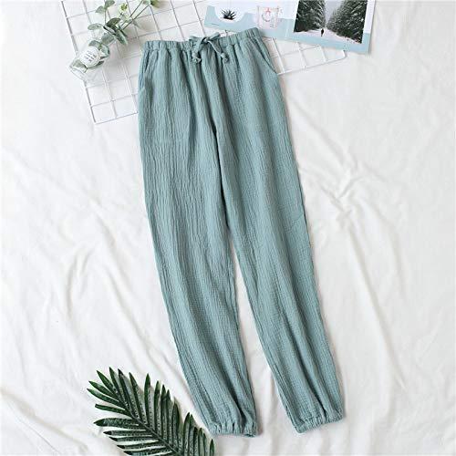 Pijamas Pijamas Hombres Y Mujeres Primavera Y Otoño Pantalones Caseros Algodón Lavado Doble Gasa Sueltos Cómodos Pantalones Casuales XL Mensgreen