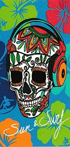 Regalitostv Day of The Dead* Toalla Playa Grande 95 X 175 CM Tacto Terciopelo 100% ALGODÓN (360g) (Calavera Rojo 235)