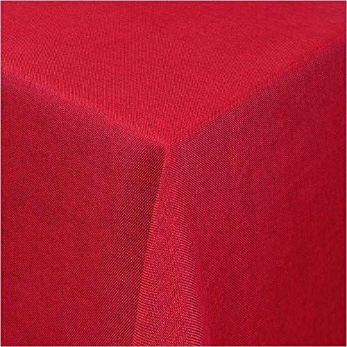 TEXMAXX®Premium Gartentischdecke Tischdecke Garten eckig Maßanfertigung - 140 x 250 cm in Rot - Tischdecken im Leinen Design - Lotuseffekt mit Fleckschutz
