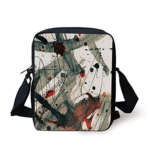Abstract,Messy Dirty Look with Grunge Effect Brushstrokes and Color Spots Stains Image Decorative,Red Tan Black Print Kids Crossbody Messenger Bag Purse