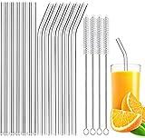 Pajitas de cristal, certificación LFGB, 12 pajitas transparentes reutilizables y 4 cepillos de limpieza, pajitas de cristal para batidos, batidos, zumo de frutas, cócteles, bebidas calientes, sin BPA