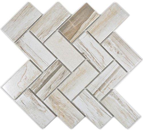 Mozaïektegel keramiek beige visgraat hout licht voor vloer muur bad wc douche keuken tegelspiegel tegelverkleeding badkuip mozaïekmat mozaïekplaat
