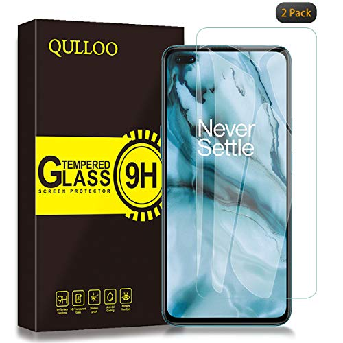 QULLOO Panzerglas für OnePlus Nord, [2 Stück] 9H Hartglas Schutzfolie HD Displayschutzfolie Anti-Kratzen Panzerglasfolie Handy Glas Folie für OnePlus Nord 5G