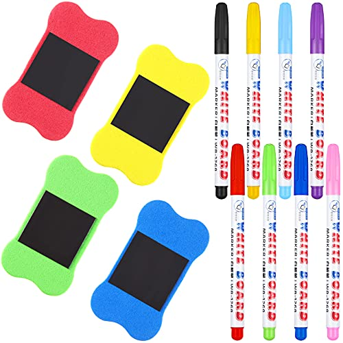 8 Pieces Dry Erase Markers and 4 Pieces Magnetic Dry Erasers for Whiteboard, Low-Odor Markers Pens Magnetic Whiteboard Blackboard Erasers for Kids, Home, School Office Supplies