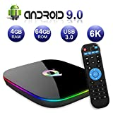 Android 9.0 TV Box 4GB RAM 64GB ROM, Q Plus H6 Quad-core WiFi 2.4GHz Support 6K H.265 HDMI 2.0 Ethernet