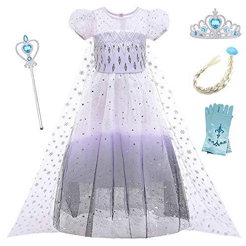 O.AMBW Disfraz de Frozen Princesa Elsa Vestido Blanco y Negro con botn extrable Capa Corta Puff Manga Tiara Peluca Guante Varita Vestido Princesa Regalo Disfraces de cumpleaos Fiesta Halloween