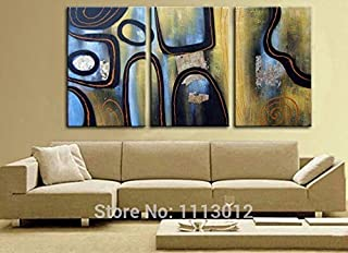 DIU Hand Painted Modern Abstract Oil Painting Letter Wall Art Canvas Set 3 Panel Home Decoration Art Picture For Kitchen L...