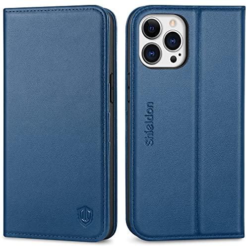 SHIELDON Hülle für iPhone 13 Pro Max Schutzhülle [100prozent Rindsleder] [Schützt vor Stoß] [Standfunktion] [Kartenfach], TPU Magnetische Klappbare Handyhülle Kompatibel mit iPhone 13 Pro Max 6,7 Königsblau