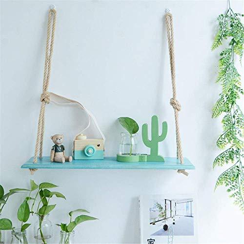 Estante flotante, estante de pared de cáñamo, con estantes, cuerda de cáñamo para colgar en la pared para sala de estar como estante, decoración de pared de tablilla