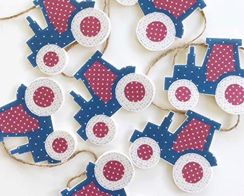 The Material Girls Red and Blue Tractor Bunting Garland Wall Hanging Decoration 1 metre long