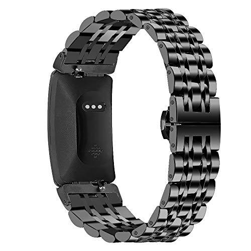 Miya System Ltd Cinturini per Inspire, Cinturino in Metallo Inossidabile Cinturino Regolabile Cinturini per Inspire/Inspire HR (Nero)