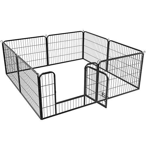 Yaheetech Recinto per Cani Conigli Animali Cuccioli da Interno Esterno Giardino Recinzione in Rete Metallica di 8 pz 60 x 80 cm