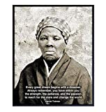 Black African American Civil Rights Wall Art Print - Harriet Tubman Motivational Quote Home Decor or Office Decoration - Inspirational Gift for Entrepreneur, Classroom, Teacher - 8x10 Photo Poster