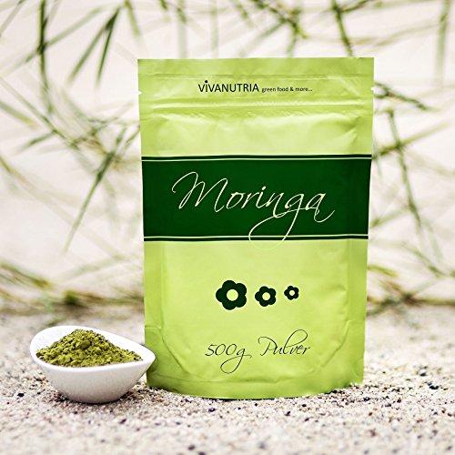 Moringa Oleifera Blattpulver, Moringapulver, 500g Pulver, Rohkostqualität! FBA