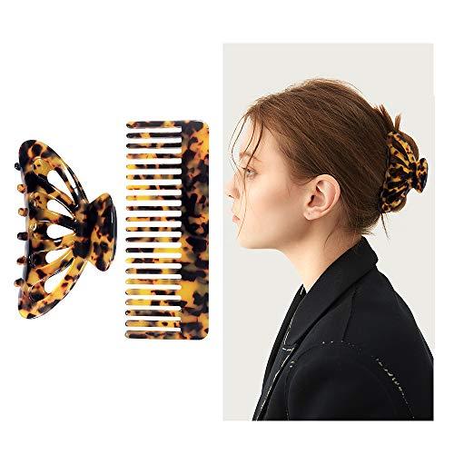 Kavya®haarklammer damen groß, haarkralle, haarspange groß, große Acryl-Haarklammer, stilvolles Haar-Accessoire für Damen, Antistatischer grober kamm, breiter kamm (2 Stück Leopardenmuster)…
