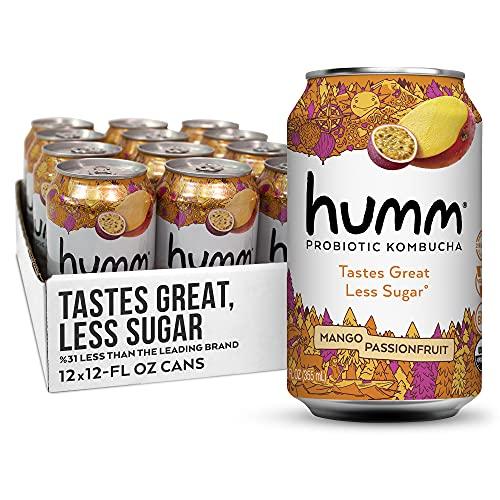 Humm Probiotic Kombucha Mango Passionfruit - 2 Billion Probiotics for Gut Health - Organic, Vegan & GMO-Free (12 Pack)