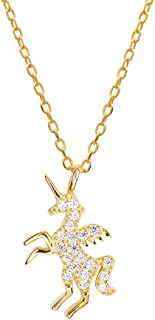 Crystal Unicorn Charm Pendant Necklace for Women Teen Girls Kids S925 Sterling Silver Gold Plated Shiny CZ Diamond Love Cu...
