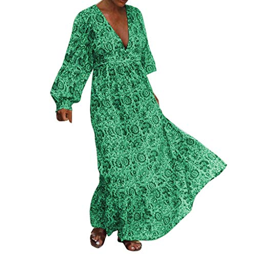 ITISME Vestito da Donna Elegante,Abito da Donna con Stampa Abito Lungo con Scollo a V Abito a Donna Estiva Abito Elegante da Donna Vestiti Donna Corti Vestiti Sexy Vestiti Manica Lunga Taglie Fort