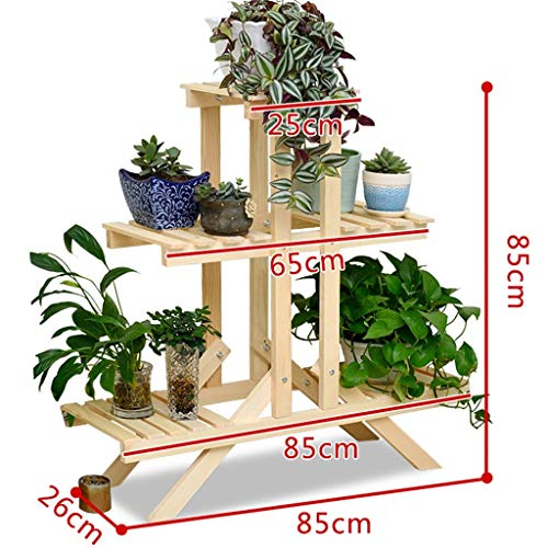 GWFVA Afwerkingspot voor bloempotten. Bloemstandaard decoratie van massief hout schelpen meerdere lagen balkon deur woonkamer balkon bloempot houder natuurlijke herder planten in pot (# 7)
