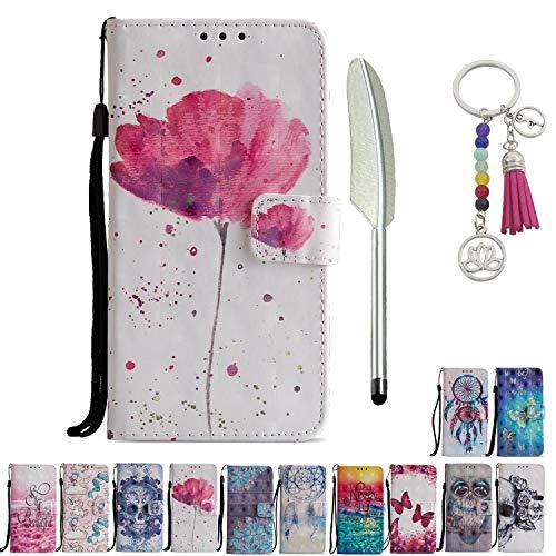 KM-Panda Lederhülle Kompatibel für LG K10 2018 Leder Tasche Klapphülle Schutzhülle Handyhülle Flip Case hülle mit Kartenfächer - Blume