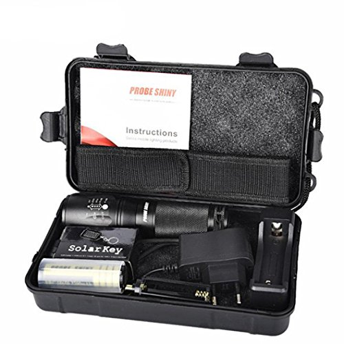 CinnamouX800 Zoomable XML T6 LED Linterna policial táctica + 18650 Ba