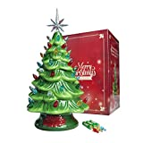 Sunlit Cordless Lighted Ceramic Christmas Tree Vintage Tabletop Christmas Decoration Pre-Lit Colorful Mini Light Bulbs 13'' Traditional Green AA Battery Operated LED