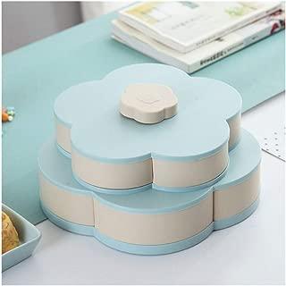 Double-Deck Rotary Storage Box Flower Design Wedding Snack Candy Box Jewelry Organizer Cosmetic Dry Fruit Storage Bin Box (Color : D)