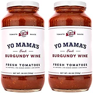 Gourmet Burgundy Wine Pasta Sauce - (2) 25 oz Jars - Keto Certified, No Sugar Added, Gluten Free, Preservative Free, Paleo Friendly, and Made with Whole, Non-GMO Tomatoes!