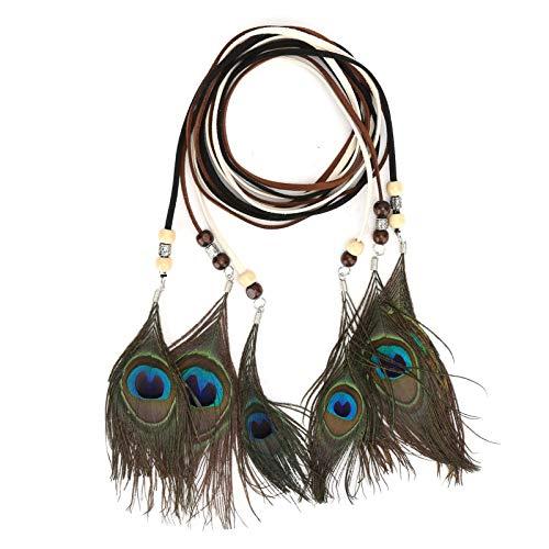 Diademas de plumas de pavo real, extensión étnica, pinza de pelo de plumas, accesorio para el cabello para mujer, conjunto de accesorios para disfraces