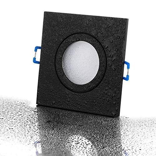 lambado® LED Spots für Badezimmer IP44 in Schwarz - Moderne Deckenstrahler/Einbaustrahler für Außen inkl. 230V 5W GU10 Strahler neutralweiß - Hell & Sparsam